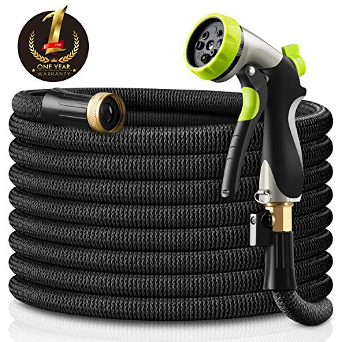 Besiter Expandable Garden Hose – 50ft Lightweight Flexible Water Hose with 3/4″ Heavy Duty Brass Connectors & Shut Off Valve – Extra Strength Fabric Cover with 8 Function Zinc Alloy Spray Nozzle