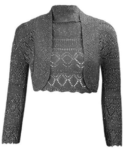 Momo&Ayat Fashions Ladies Girls Metallic Lurex Cropped Bolero Shrug US Size 6-12 (M/L (US 10-12), Black)