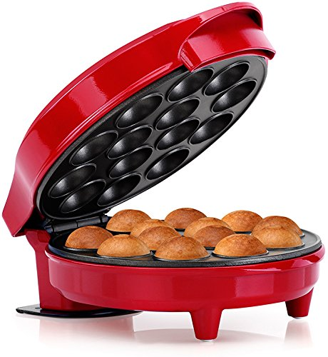 Holstein Housewares HF-09014R Cake Pop Maker, Red/Stainless Steel