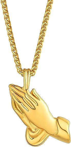 Imagen deFaithHeart Medalla Sagrada Colgante con Mano de Oración e Inscripción Biblia Joyería Milagrosa de Acero Inoxidable para Hombre y Mujer