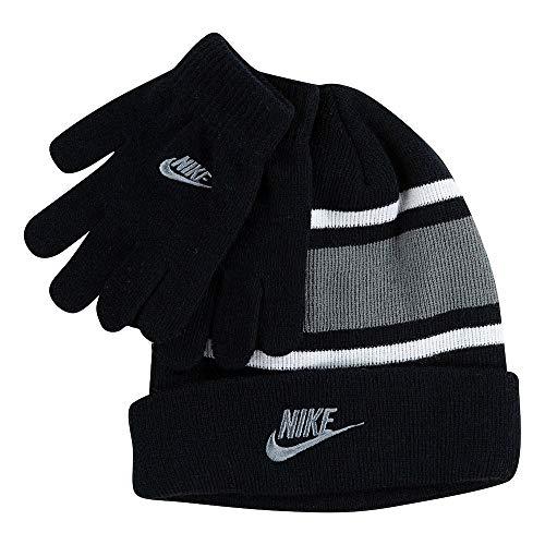 Nike Boy`s Futura Foldover Beanie & Glove 2 Piece Set (Black(9A2837-KG7)/Grey, 8-20) (Nike Plain Cap)