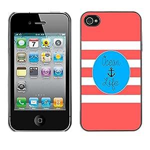Cubierta de la caja de protección la piel dura para el Apple iPhone 4 / 4S - life pink anchor blue marine