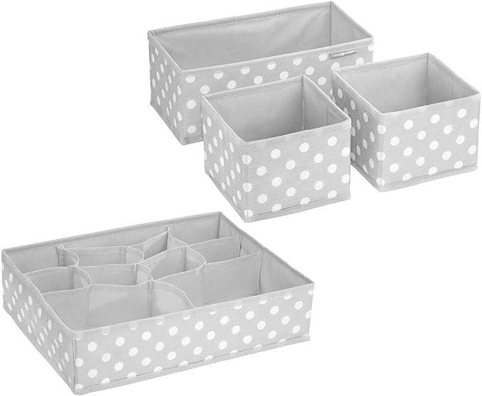 mDesign Kinderzimmer Aufbewahrungsbox stilvolle Stoff Aufbewahrungskisten in verschiedenen Gr/ö/ßen Kinderschrank Organizer aus atmungsaktiver Kunstfaser Creme//wei/ß 8er-Set