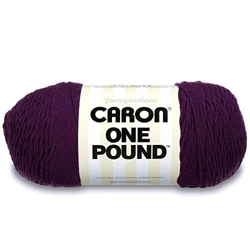 Caron  One Pound Solids Yarn - (4) Medium Gauge 100% Acrylic - 16 oz -  Deep Violet- For Crochet, Knitting & Crafting ()