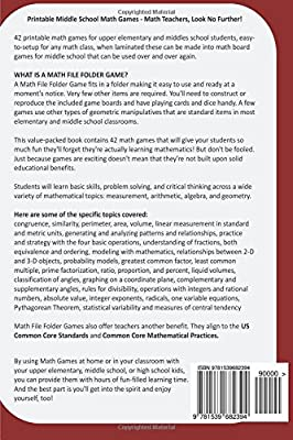 photograph relating to Middle School Math Games Printable referred to as Math Document Folder Online games: 42 Printable Math Online games for Center