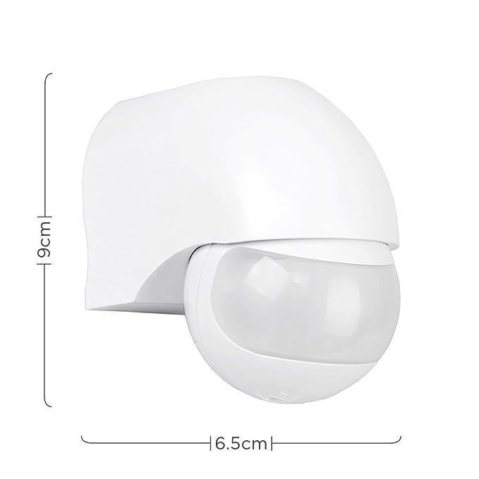 Detector de movimiento PIR para exteriores, 180 grados, función de anulación manual, color blanco: Amazon.es: Iluminación