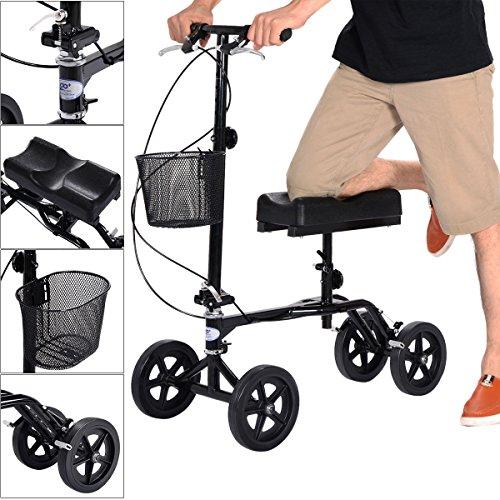 Steerable Foldable Knee Walker Scooter Turning Brake Basket Drive Cart Black New (Equipment Cart Terrain)