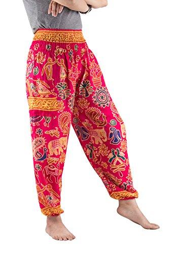 Lofbaz Mujer Harem Boho del Elefante Pantaloni cintura elástica talla única Hippie Elephant 2 Rosa