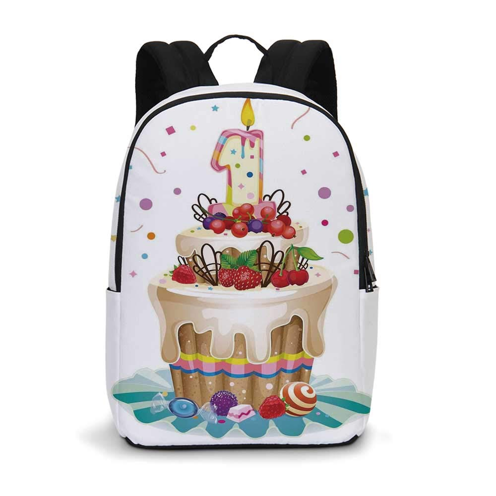 1st Birthday Decorations Modern simple Backpack,Baby First Party Festive Cake with Forest Fruits and Candle Image for school,11.8''L x 5.5''W x 18.1''H