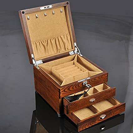QPSSP La Joyeria Antigua Caja Alhajero Antiguo Olmo Hardware Personalizado Pura Madera Maciza Multicapa Casket Box