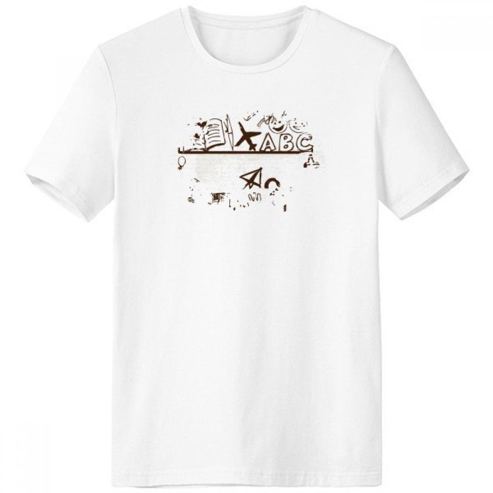 DIYthinker Los niños de niño Ilustración Linda del Estante Colegio Pincel Escote de la Camiseta Blanca sin Etiquetas Comfort Deportes Camisetas de Regalos - Multi - XXL sku00306558f10780-XXL
