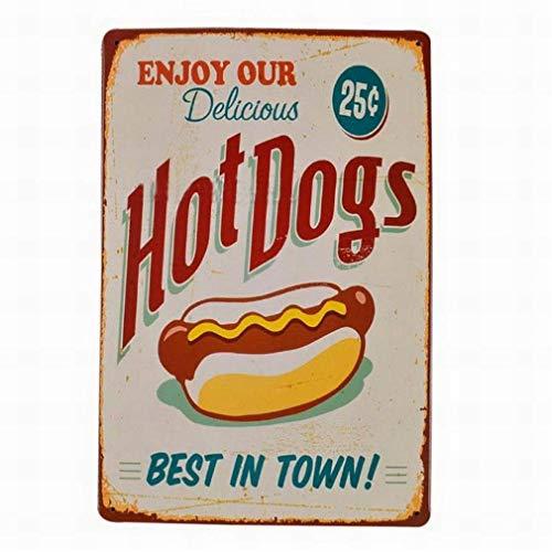 SUPVIVI Enjoy Our Delicious Hot Dogs Novelty Vintage Tin Metal Sign 8 x 12 Wall Decor
