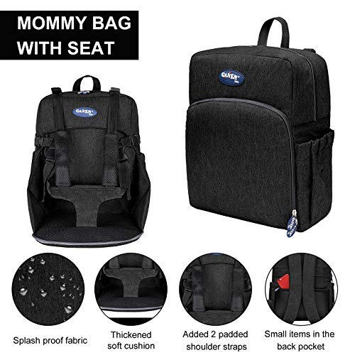 MIEMIE Multifunctional Baby Diaper Bag Backpack with Portable Chair Dining Chair Home Outdoor Travelling Large Capacity Backpack for Moms and Dads Black