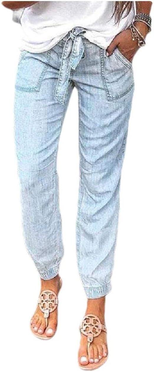 Romancly 女性ミドルウエストカジュアルウィークエンドストレートスタイリッシュなジーンズポケット付き