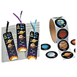 4 Dozen (48) Laminated SOLAR SYSTEM Bookmarks & (48) PLANET Stickers - OUTER SPACE Party Favors - GALAXY - SCIENCE Outer SPACE Teacher CLASSROOM Giveaways INCENTIVE