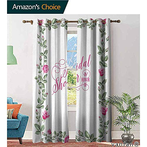 LQQBSTORAGE Bridal Shower,Curtains Bathroom Window,Roses Buds Floral Arrangement Leaves Frame Bride Party Theme Image,Curtains for Party Decoration,Hot Pink and - Gingham Pink Toile Green