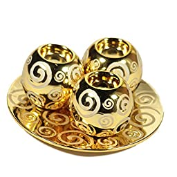 Essential Décor Entrada Collection 3-Piece Decorative Tabletop Ceramic Plate with Ball, 10 by 10 by 5-Inch, Gold