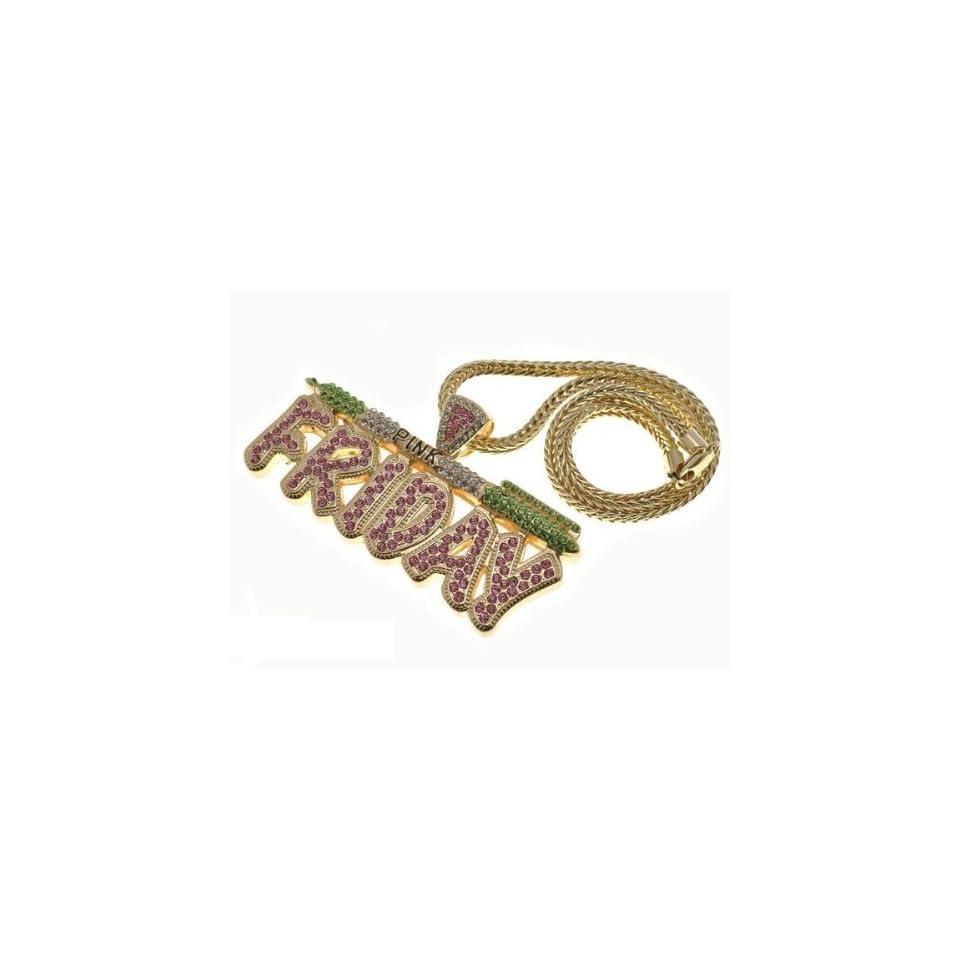 NICKI MINAJ BARBIE Pink Friday Pendant Chain Gold Pink/Green Jewelry