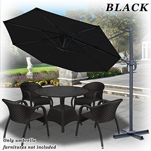 Strong Camel 11.5' Deluxe Off-Set Hanging Roma Offset Umbrella Tilt & 360 Rotation Patio Heavyduty Outdoor Sunshade Cantilever Crank black