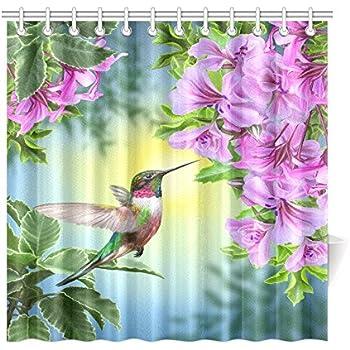 InterestPrint Hummingbirds Shower Curtain, Art With Colibri Bird And Tree  Branch Fuchsia Flower Romantic Springtime Tropics Nature Bathroom Set, ...