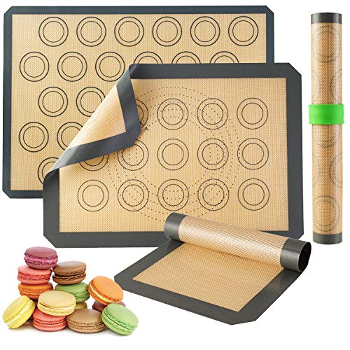 Silicone Baking Mats-Non Stick Cookie Sheet Macaron Mat Linerfor Bake Pans & Rolling,Perfect Bakeware For Bread Making Pastry Cake Brioche Pizza-Thick/Large/BPA Free(2 Half Sheets &1 Quarter Sheet)