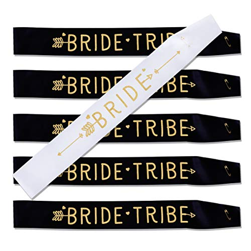Haley Party Bride Tribe Sash Bridesmaid Sashes Bachelorette Party Sash Set Bride Sash Bridal Shower Decorations (6 PCS in Black and White with Gold Lettering)