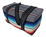 Serape Style Carry On Shoulder Tote Duffel Bag Hand Woven Mexican Serape Design (Grey)