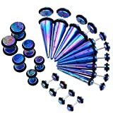 33mm ear plugs - PiercingJ Mens Womens 10 Pairs Mixed Size Acrylic Taper & Barbell Round Stud Fake/ Cheater/ Illusion Plug Earrings Set 6g-00g Look (Blue)