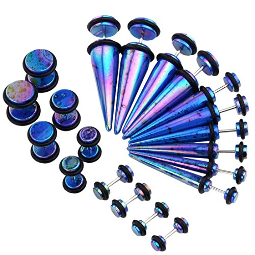PiercingJ Mens Womens 10 Pairs Mixed Size Acrylic Taper & Barbell Round Stud Fake/Cheater/Illusion Plug Earrings Set 6g-00g Look (Blue)