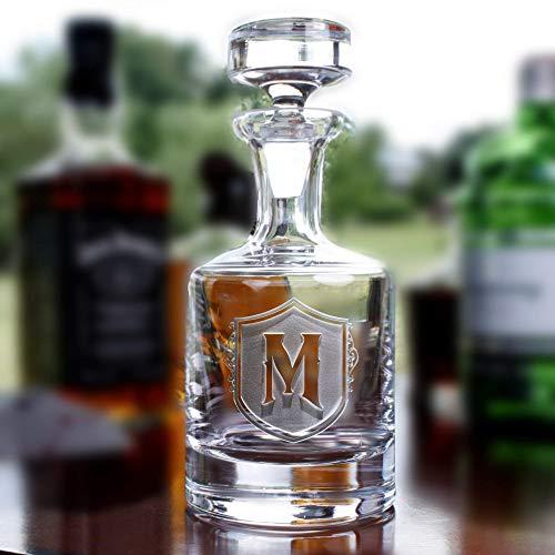 (Monogrammed Decanter for Whiskey, Scotch, Bourbon, Rye, Gin, Vodka, Liquor)