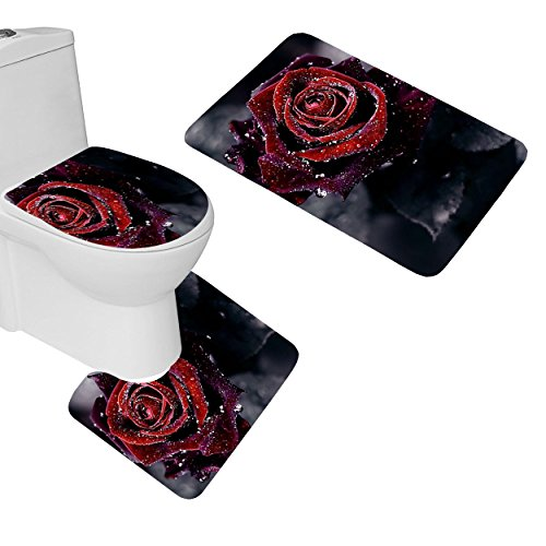 Smooffly Rose Bathroom Rugs, Elegant Taste Rose Pattern 3 Piece Bathroom Mat Set,Contour Mat U-Shaped Toilet Floor Rug Soft Non-Slip Bathroom Decor, Black Red