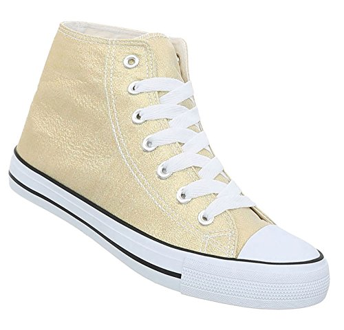 Damen Schuhe Freizeitschuhe Sneakers Gold