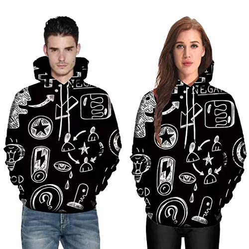 Long Sleeve Tops for Men,Cinsanong Sale! Mens Womens Mode 3D Abstract Print Blouse Couples Hoodies Plus Size T-Shirt