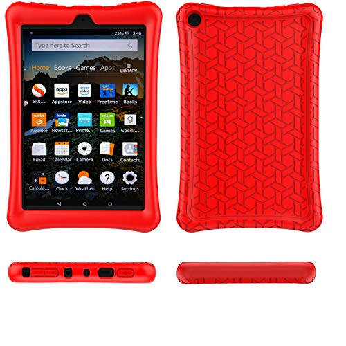 Fire HD 8 2018/2017 Case Cover-TIRIN Light Weight Shock Proof,Skid Proof Soft Silicone Back Cover Case for Amazon Fire HD 8 (2018/2017 Release) Tablet, Red