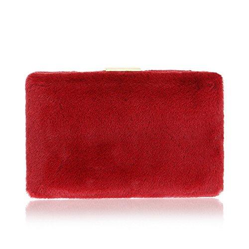 New Bag Red Fur Evening Bag Evening Dark FLY bag Bag Dark Ladies And Fashion evening Europe Red Party Color America Fur vBqOdU