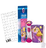 "Disney Princess ""Rapunzel"" 3pc Bright Smile Oral Hygiene Set! Tangled Turbo Powered Toothbrush, Brushing Timer & Mouthwash Rinse Cup! Plus Bonus ""Remember To Brush"" Visual Aid & Gift Bag!!"