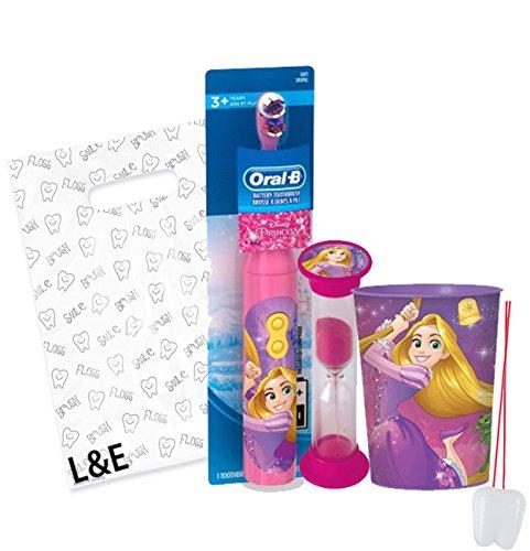 "Disney Princess ""Rapunzel"" 3pc Bright Smile Oral Hygiene Set! Tangled Turbo Powered Toothbrush, Brushing Timer & Mouthwash Rinse Cup! Plus Bonus ""Remember To Brush"" Visual Aid & Gift Bag!!"