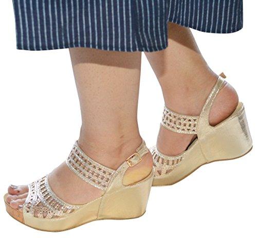 Strap Sandal Champagne Wedge Soletta Diamante Slingback Mid Ladies Comfort X1xCw7qXz