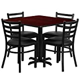 Commercial Grade 36'' Square Restaurant Table and Metal Chair Set; Laminate Table Top with 4 Ladder Back, 500 lb. Seating Capacity, Vinyl Chairs - Mahogany, Black