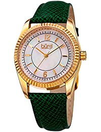 Skinny Leather Women's Watch with Swarovski Crystal Markers on Mother of Pearl Dial –Embossed Green Designer Bracelet Band – Japanese Quartz – BUR167GN