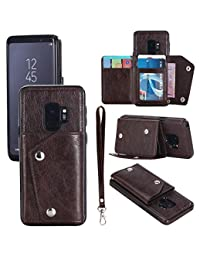 Samsung S9 Leather Phone Case Wallet Smart Kickstand Card Holder Cover with Hand Straps, Dark Brown
