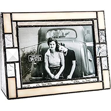 J Devlin Pic 407-46H Ivory Opal Stained Glass Picture Frame 4x6 Horizontal Photo Vintage Wedding Frame