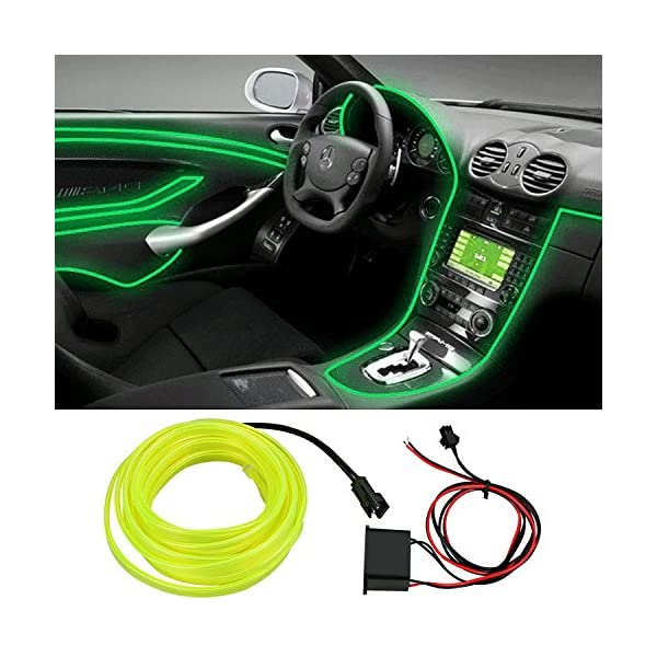2M Green Car Interior Light Strip 12V Neon Atmosphere Glowing Strobing Electroluminescent Light Glowing EL Wire Cable for Car Door//Console//Seat//Dash Board Decoration