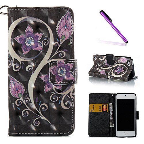 iPod Touch 5 Case,iPod Touch 6 Case,LEECOCO Fancy 3D Print Floral Wallet Case with Card Slots Slim PU Leather Flip Kickstand Case Cover for Apple iPod Touch 6th 5th - 3D Purple Flowers (Ipod 5 Case Purple Flowers)