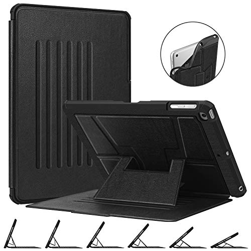 Fintie Magnetic Stand Case for iPad 9.7 2018 2017 / iPad Air 2 / iPad Air 1, [Multiple Secure Angles] Shockproof Rugged Soft TPU Back Cover with Auto Wake/Sleep, Black