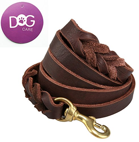 Training Lead Handmade Braided 8 ft Genuine Leather Dog Training Leash Lead, Burgundy