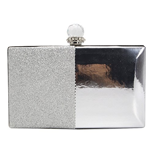 Bling Clutch Prom Evening Purse Handbag Silver Sparkly Bridal Party Wocharm Bag Womens Rx7484qf
