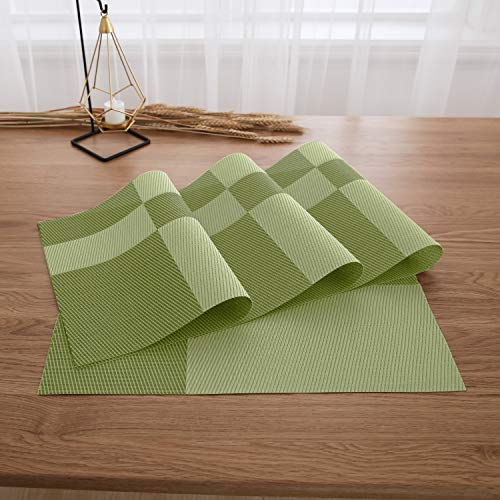 Deconovo PVC Placemats Place mats Washable Table Mats Placemats for Toddlers Splice Insulation Mats Lime Green Set of 4