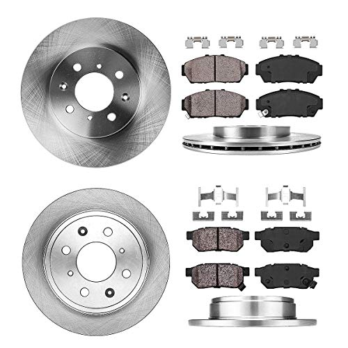 (FRONT 262 mm + REAR 239 mm Premium OE 4 Lug [4] Rotors + [8] Quiet Low Dust Ceramic Brake Pads + Clips)