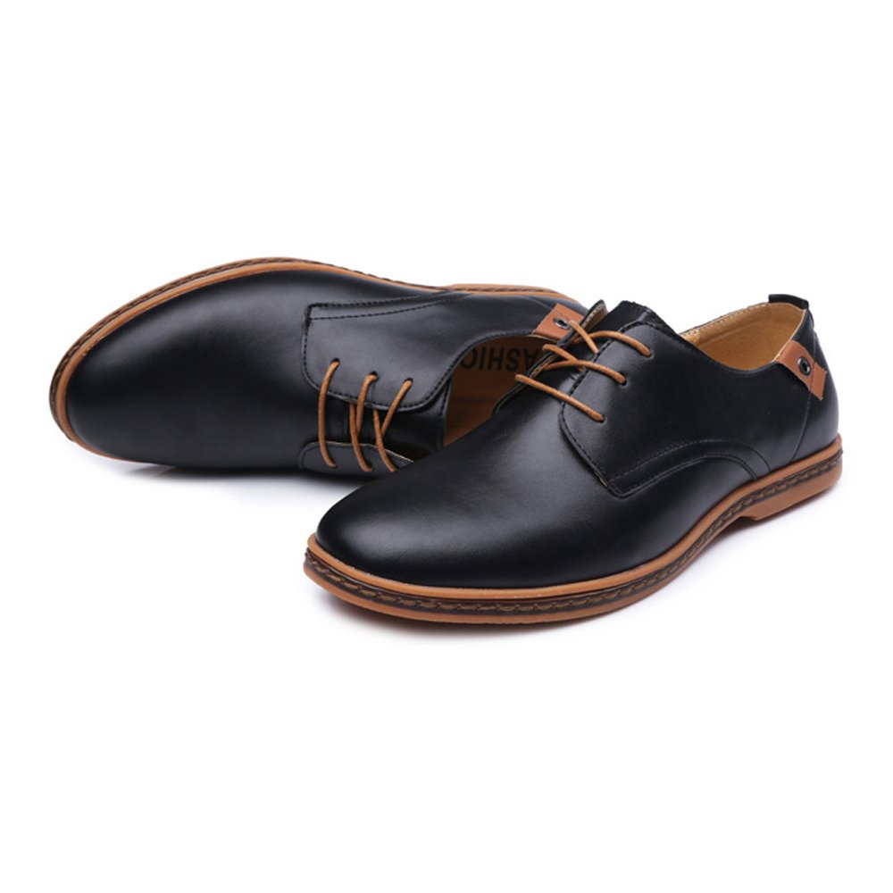 Shufang-shoes Mens Ankle Shoes Smooth PU Leather Upper Lace Up Breathable Formal Business Oxfords